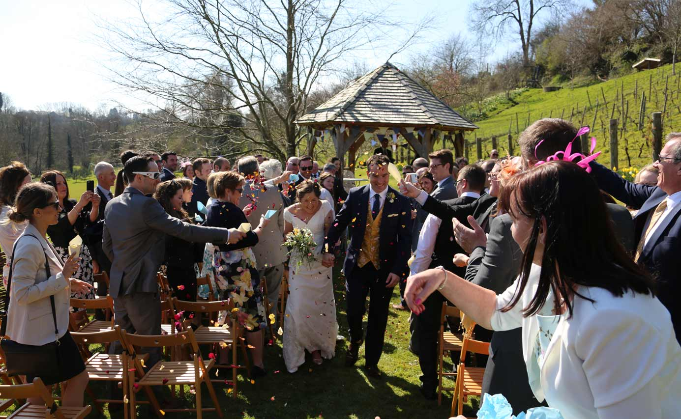 Longhouse weddings - confetti in the garden