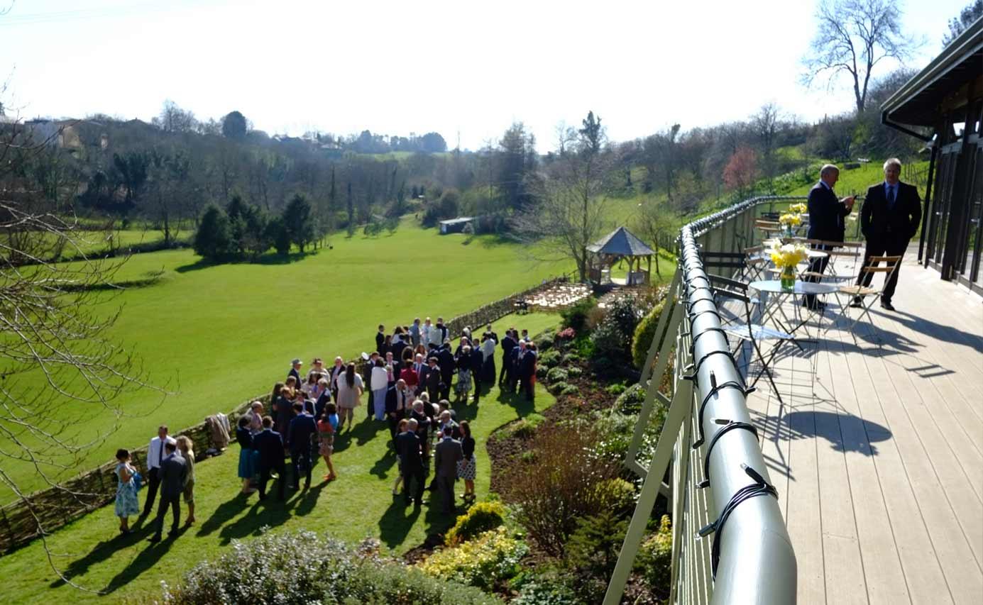 Longhouse weddings - reception drinks in the garden